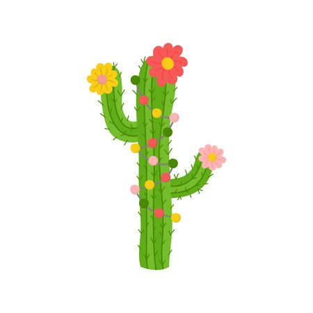 Vector Illustration Keywords: Festive, Seasonal, Holiday Cute Xmas Decorated Cactus with Lights Flowers. Isolated cartoon graphic print. Иллюстрация