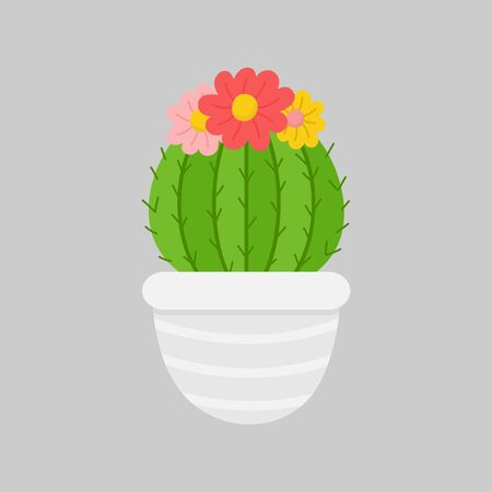 Vector Illustration Keywords: Festive, Seasonal, Holiday Cute Xmas Cactus with Flowers in Gray Pot. Isolated cartoon graphic print. Иллюстрация