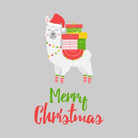 Vector Illustration Keywords: Cute Trendy Festive Seasonal Xmas Alpaca with Merry Christmas Writing. Isolated graphic print cartoon character.