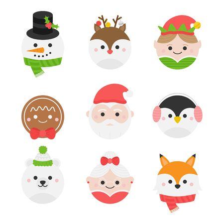 Vector Illustration Keywords: Winter, Seasonal, Holiday, Festive Xmas Heads. Isolated cartoon graphic icons.