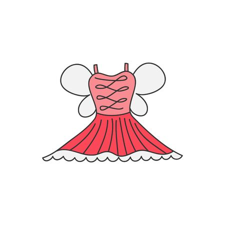 Ballet Princess Dress Vector Illustration. Hand Drawn Outlined Pink Skirt, Dress, Costume with Wings. Isolated.