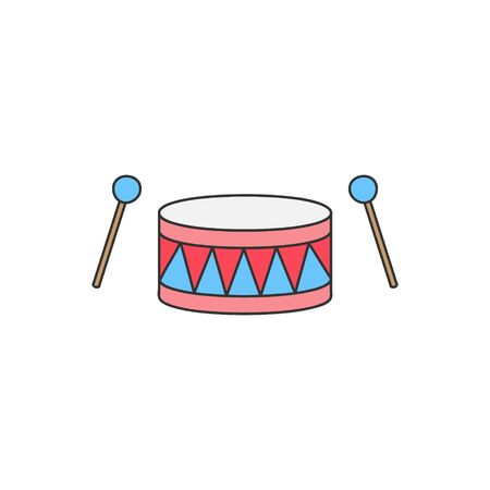 Vector Illustration Keywords: Hand drawn outlined drum set. Isolated.