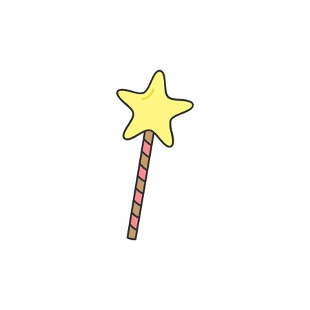 Vector Illustration Keywords: Princess, fairy godmother star wand. Hand drawn isolated icon.