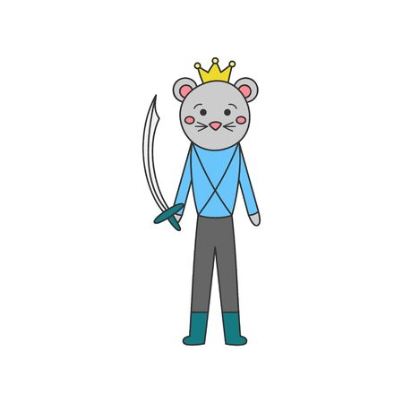 Mouse prince character vector illustration. Hand Drawn Outlined Classic Nutcracker Ballet Story Soldier. Isolated.