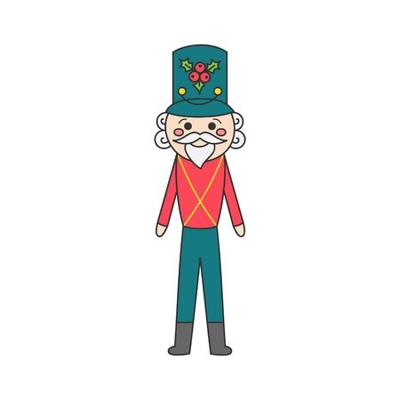Nutcracker character vector illustration. Hand Drawn Outlined Classic Ballet Story Soldier. Isolated. Ilustração