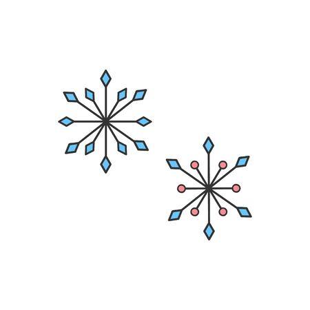 Vector Illustration Keywords: Cute hand drawn winter snowflakes set. Isolated. Çizim