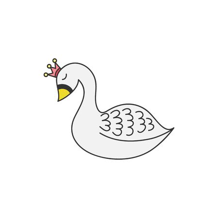 Vector Illustration Keywords: Cute hand drawn swan with crown, princess. Isolated.