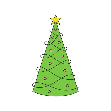 Vector Illustration Keywords: Hand Drawn Outlined Xmas Tree. Isolated.