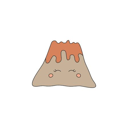 Prehistoric Cute Volcano with Lava Vector Illustration. Hand drawn volcanic eruption. Isolated. Ilustrace