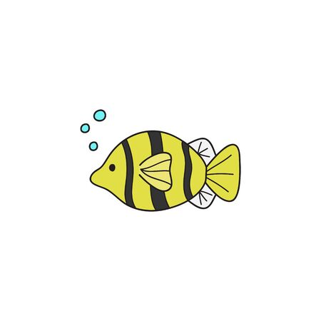 Vector Illustration Keywords: Hand drawn outlined ocean, marine, sea yellow, black and white striped fish animal. Isolated.