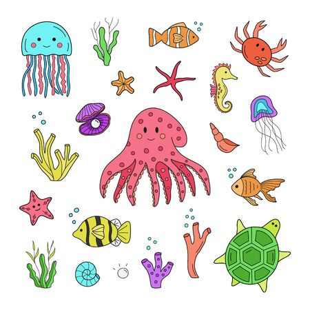Palabras Clave: Dibujado a mano mar, océano, animales marinos de dibujos animados. Impresión gráfica aislada, pegatinas web.