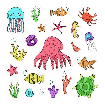 Słowa kluczowe grafiki wektorowej: Ręcznie rysowane morze, ocean, morskie zwierzęta z kreskówek. Na białym tle druk graficzny, naklejki internetowe.