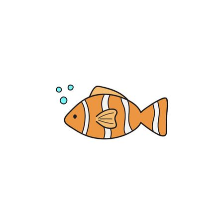 Vector Illustration Keywords: Hand drawn outlined ocean, marine, sea orange, white and black striped fish animal. Isolated.