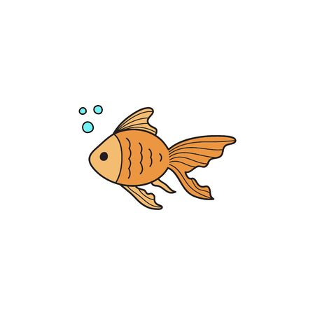 Vector Illustration Keywords: Hand Drawn Outlined Ocean, Marine, Sea Yellow, Orange Goldfish Animal. Isolated. Illustration