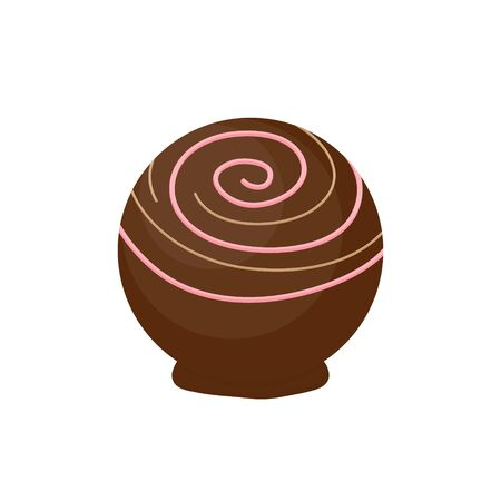 Vector Illustration Keywords: Sweet sugar candy with topping from box of chocolates, candies, truffle graphic icon. Isolated. Ilustrace