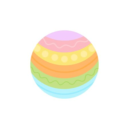 Vector Illustration Keywords: Spring, holiday, circle Easter egg symbol. Isolated cartoon graphic icon.
