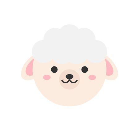 Vector Illustration Keywords: Spring, holiday, circle sheep symbol. Isolated cartoon animal graphic icon.