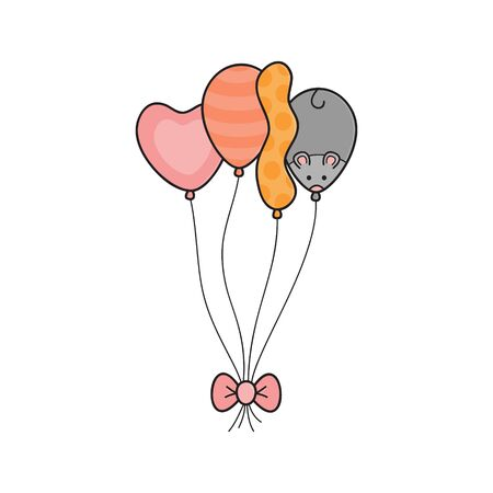 Cute birthday party balloons vector illustration. Hand drawn heart, round, long and mouse balloon tied together with bow. Isolated. Illustration