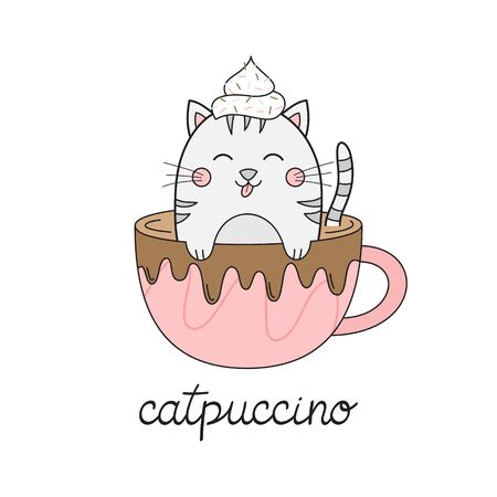 Cute cat in cappuccino vector illustration. Funny hand drawn kitten in coffee mug with whipped cream dollop on head and chocolate drizzle with catpuccino writing. Isolated.