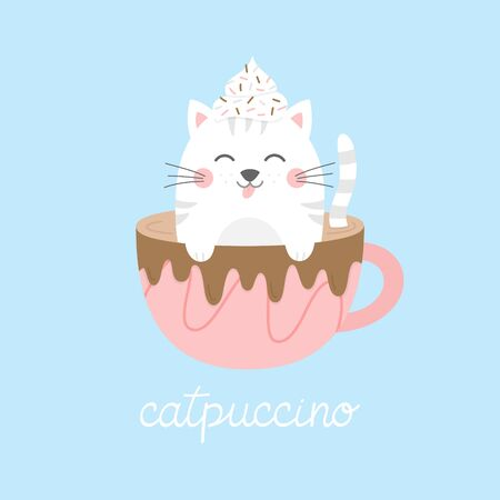 Cute cat in cappuccino vector illustration. Funny hand drawn kitten in coffee mug with whipped cream dollop on head and chocolate drizzle on cup, with catpuccino writing. Isolated.