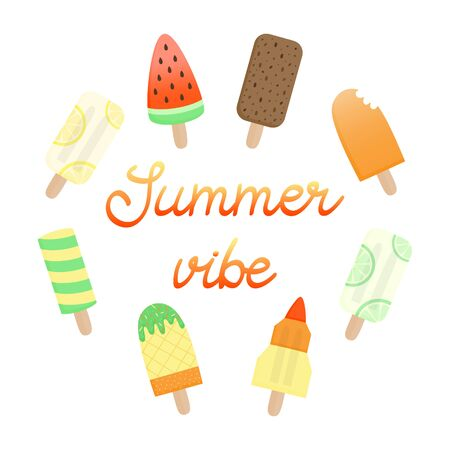 Summer vibe ice pop vector illustration. Hand drawn and handwritten gradient text summer vibe with ice creams around. Ice lolly seasonal graphic, isolated.