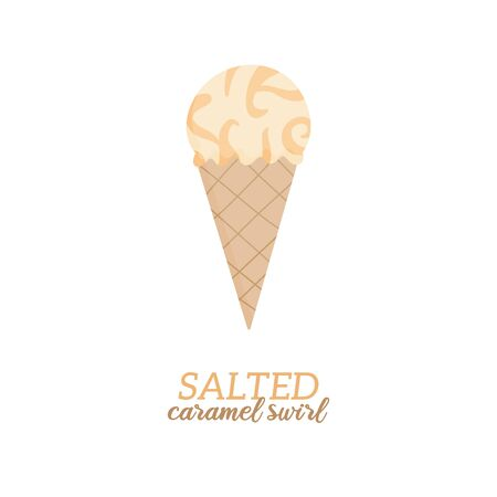 Salted caramel swirl ice cream vector illustration. Sweet dairy or vegan caramel flavored ice cream in waffle cone. Isolated.