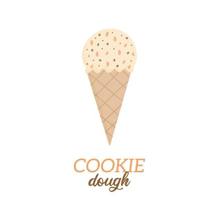 Cookie dough ice cream vector illustration. Sweet dairy or vegan cookie with chocolate chips flavored ice cream in waffle cone. Isolated.