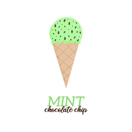 Mint chocolate chip ice cream vector illustration. Sweet dairy or vegan mint with chocolate chips flavored ice cream in waffle cone. Isolated.