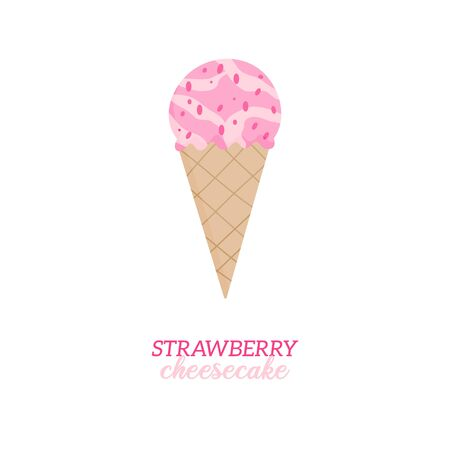 Strawberry cheesecake ice cream vector illustration. Sweet dairy or vegan strawberry flavored ice cream in waffle cone. Isolated.