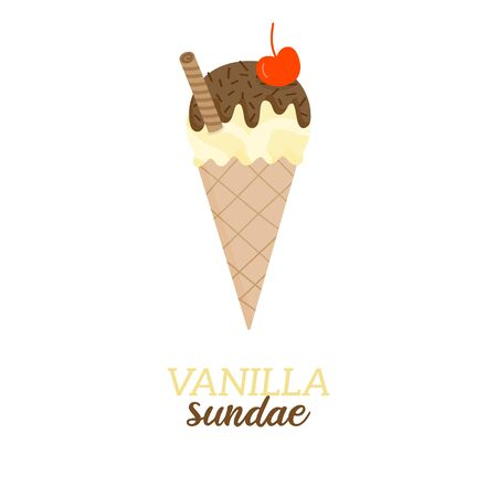 Vanilla sundae scoop ice cream vector illustration. Sweet dairy or vegan vanilla flavored ice cream with chocolate drizzle and sprinkles and cherry on top in waffle cone. Isolated.