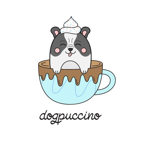Cute dog in cappuccino vector illustration. Funny hand drawn french bulldog puppy in coffee mug with whipped cream dollop on head and chocolate drizzle with dogpuccino writing. Isolated. Çizim