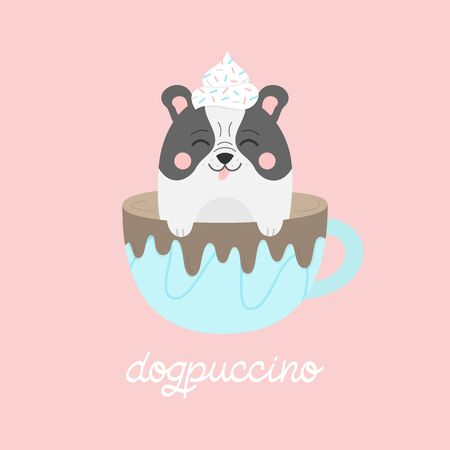 Cute dog in cappuccino vector illustration. Funny hand drawn french bulldog puppy in coffee mug with whipped cream dollop on head and chocolate drizzle on cup, with dogpuccino writing. Isolated.