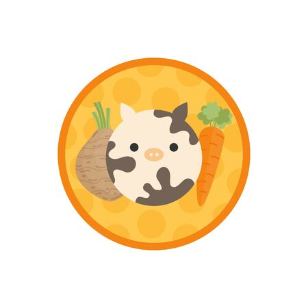 Beef vegetable soup vector illustration icon. Root vegetable and meat broth, stock with dumplings cute round label. Isolated.