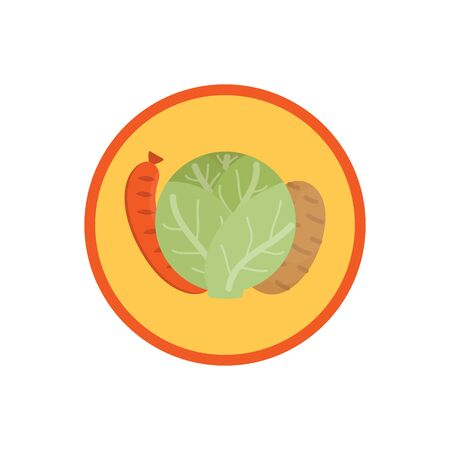 Cabbage vegetable soup vector illustration icon. Root vegetable broth, stock with potatoes and sausage cute round label. Isolated. Çizim