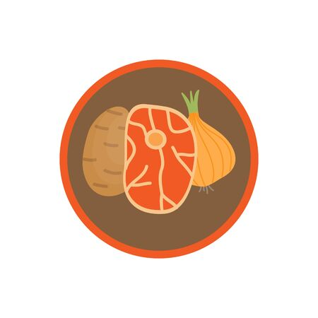 Goulash vegetable soup vector illustration icon. Root vegetable broth, stock with potatoes and onion cute round label. Isolated. Ilustracja