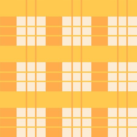 Checked cute vector seamless pattern. Yellow and orange domestic checkered pattern. Isolated. Çizim