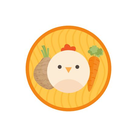 Chicken vegetable soup vector illustration icon. Root vegetable and meat broth, stock with noodles cute round label. Isolated.