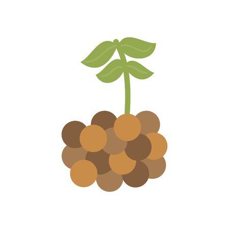 Lentil vector illustration icon. Legume lentil with leaves. Isolated.