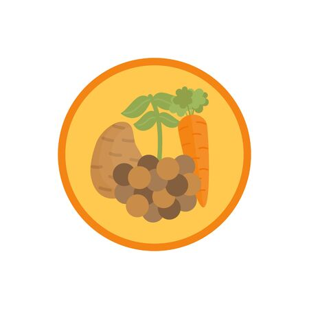 Lentil vegetable soup vector illustration icon. Root vegetable broth, stock with legume cute round label. Isolated.