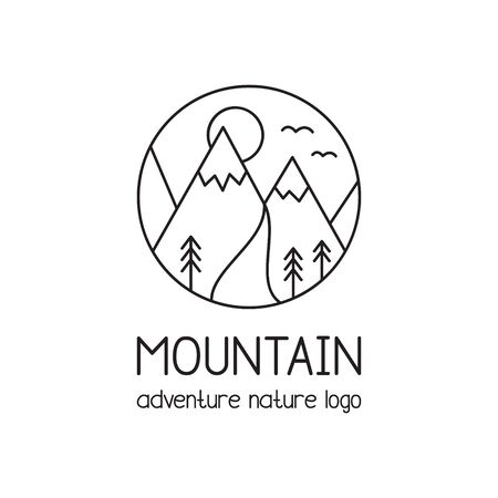 Mountain vector illustration icon. Nature, adventure, outdoor graphic logo with text, simple doodle black line design. Isolated.