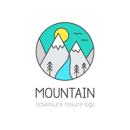 Mountain vector illustration icon. Nature, adventure, outdoor graphic colorful logo with text, simple doodle lines. Isolated. Çizim
