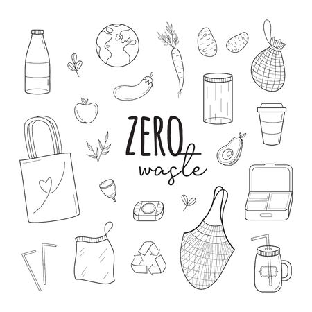 Zero waste vector illustration set. Hand drawn environment-friendly graphic collection of zero waste shopping simple black outlined icons. Isolated.