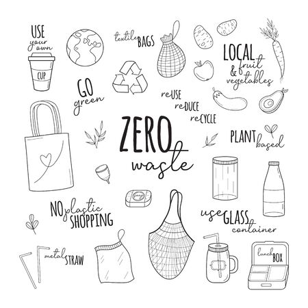 Zero waste vector illustration set. Hand drawn environment-friendly graphic collection of zero waste shopping simple black outlined icons with writings. Isolated.