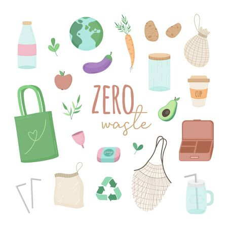 Zero waste vector illustration set. Hand drawn environment-friendly graphic collection of zero waste shopping simple colorful icons. Isolated.