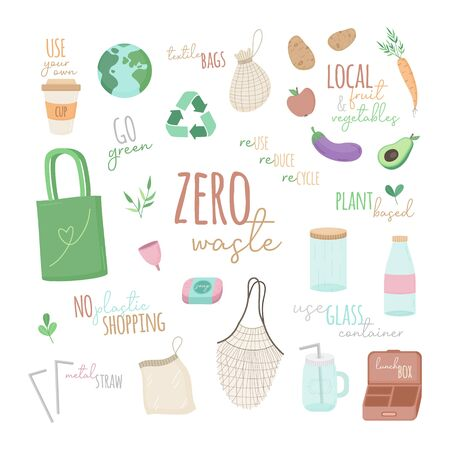 Zero waste vector illustration set. Hand drawn environment-friendly graphic collection of zero waste shopping simple colorful icons with writings. Isolated.