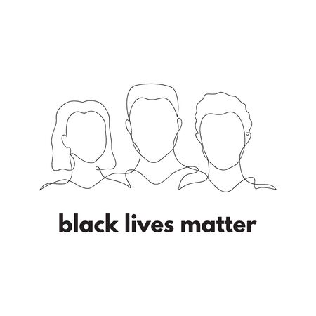 Black lives matter. Three people silhouette vector illustration. Hand drawn different gender, culture outline figures in one black line. Equality graphic illustration. Isolated.