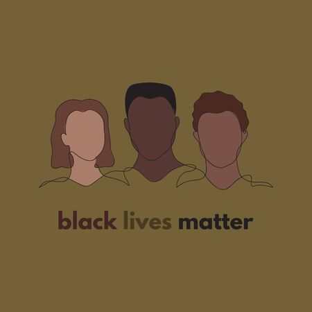 Black lives matter. Three people silhouette equality vector illustration. Hand drawn different gender, culture outline figures in one black line with colorful background. Isolated. Çizim