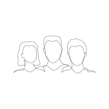 Three people silhouette vector illustration. Hand drawn different gender, culture outline figures in one black line. Equality graphic illustration. Isolated. Çizim