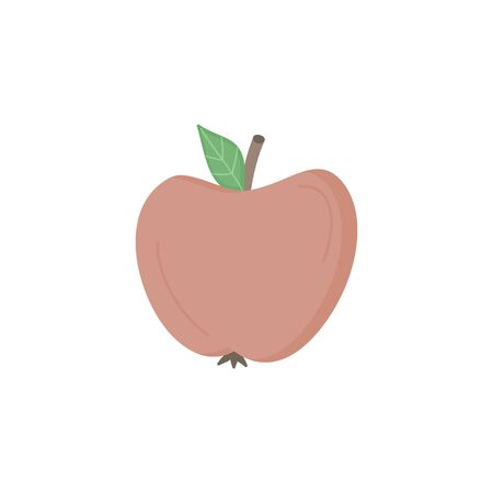 Apple fruit vector illustration icon. Hand drawn red apple. Isolated.