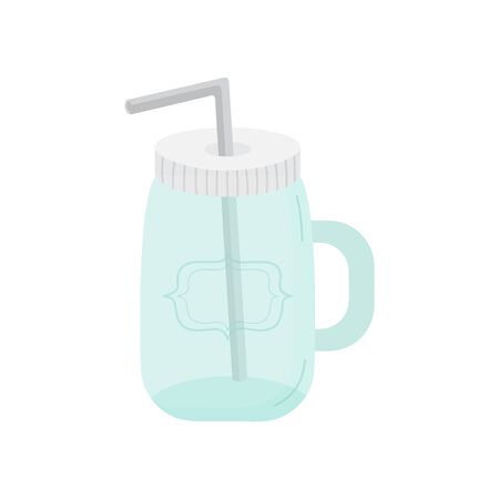 Glass drink vector illustration graphic. Hand drawn environment friendly, zero waste jar with metal straw. Isolated. Çizim